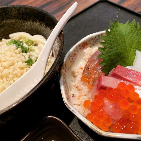 【一知富士】プラス200円で食べれるミニ海鮮丼が贅沢!冷やしねばとろろうどん ¥450(税抜)