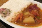 【Saffron Saffron】ソースが選べる!特製ハンバーグと海老フライセット ¥1,200(税込)