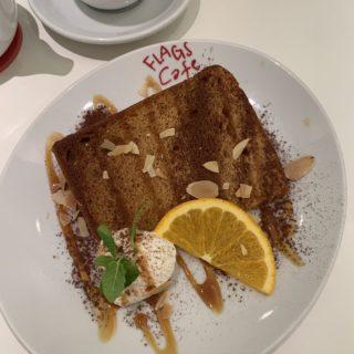 【FLAGS Cafe】ほろ苦キャラメルソースがアクセント!シフォンケーキ(ケーキセット) ¥1,155(税込)